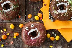 Scary Halloween donuts stock photo