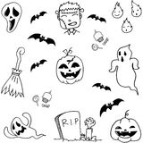 Scary Halloween doodle set Stock Image