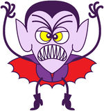 Scary Halloween Dracula. Angry vampire in minimalist style with pointy ears, sharp fangs, hairstyle and red cape while showing a scary and intimidating mood Royalty Free Stock Photo