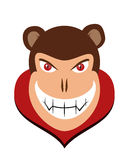 Scary halloween dracula monkey head with red eye Royalty Free Stock Photos