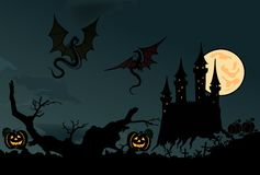 Scary halloween  with dragons. Vector Royalty Free Stock Images