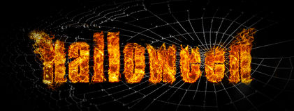 Scary Halloween fire on spider web banner Royalty Free Stock Images