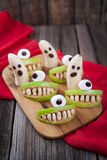 Scary halloween food edible monsters healthy Stock Images