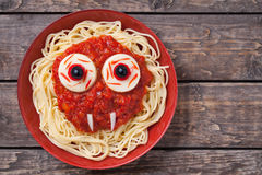 Scary halloween food pasta vampire monster face Royalty Free Stock Photo