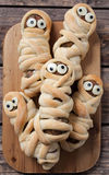 Scary halloween food sausage meatball mummies in Stock Images