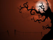 Scary Halloween full moon night background. Stock Photos