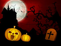 Scary Halloween full moon night background. Royalty Free Stock Image