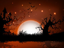 Scary Halloween full moon night background. royalty free illustration