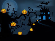 Scary Halloween full moon night background. Royalty Free Stock Photography
