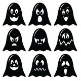 Scary Halloween  ghosts  characters icons set in black and white Royalty Free Stock Images
