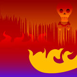 Scary Halloween Hell Skull. Scary image of Halloween Hell underground, with flames and skull and bones stock illustration