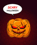 Scary Halloween. Horrible Pumpkin with red eyes symbol of holida Stock Photos