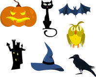Scary Halloween - icons. Set of icons for Halloween, vector file Stock Image