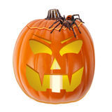 Scary Halloween Jack-O-Lantern With Tarantula Spider Stock Image