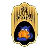 Scary halloween logo, cartoon style vector illustration