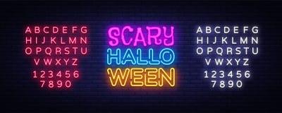 Scary Halloween neon text vector design template. Halloween neon logo, light banner design element colorful modern Royalty Free Stock Photo