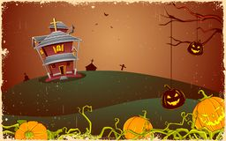 Scary Halloween Night. Illustration of halloween haunted house in scary night Stock Photos
