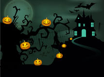 Scary Halloween night background. Stock Photo