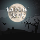 Scary Halloween Night Poster with Big Moon, Bat, Graves. Trick o Royalty Free Stock Image