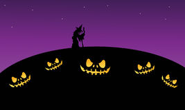 Scary halloween at night with witch. Purple backgrounds Stock Image