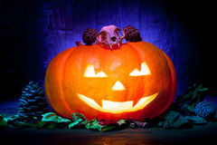 Scary Halloween pumpkin on a blue wooden background Stock Photography
