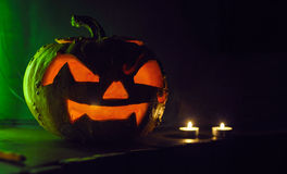 Scary Halloween pumpkin. With candles Stock Photography