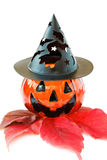 Scary Halloween pumpkin decoration. Celebrating Halloween with scary pumpkin. Isolated on white background stock image