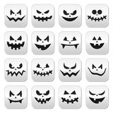 Scary Halloween pumpkin faces buttons set Stock Image