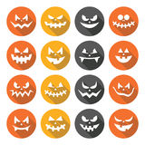 Scary Halloween pumpkin faces flat design icons set Royalty Free Stock Photo
