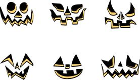 Scary Halloween pumpkin faces icons set royalty free illustration