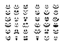 Scary Halloween 36 pumpkin faces icons set. Stock Images