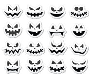 Scary Halloween pumpkin faces icons set Royalty Free Stock Photography
