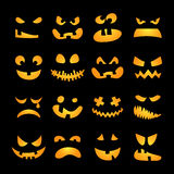 Scary Halloween pumpkin faces set. Horror, terrible, awful, shining emotions on black background . Vector illustration Stock Photo