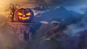 Scary Halloween pumpkin on floating island above the mountains Stock Photos