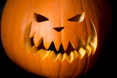 Scary Halloween pumpkin head on black Royalty Free Stock Images