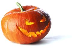 Scary Halloween Pumpkin. Isolated on white background Royalty Free Stock Image