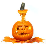 Scary Halloween pumpkin isolated on white background Stock Photo