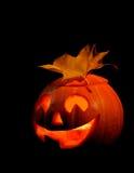 Scary halloween pumpkin jack-o-lantern. On black background Royalty Free Stock Photography