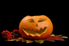 Scary halloween pumpkin jack-o-lantern Stock Photo