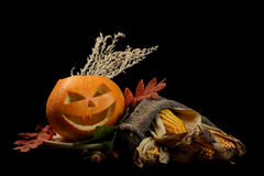 Scary halloween pumpkin jack-o-lantern Royalty Free Stock Photos