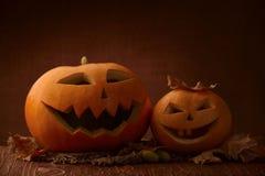 Scary halloween pumpkin jack-o-lantern. On dark background Royalty Free Stock Photo