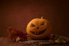 Scary halloween pumpkin jack-o-lantern Stock Photos