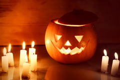 Scary Halloween pumpkin lantern ( jack-o'-lantern) Royalty Free Stock Photo