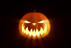 Scary Halloween Pumpkin. Looking through the smoke royalty free stock images
