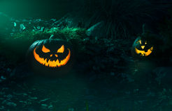 Scary Halloween Pumpkin in a night Stock Images