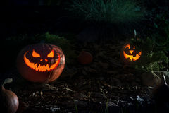 Scary Halloween Pumpkin in a night Royalty Free Stock Images