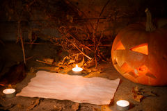 Scary Halloween pumpkin and old burned paper Royalty Free Stock Images
