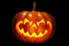 Scary Halloween pumpkin resembling a Chinese dragon head, with b Stock Image