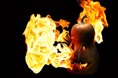 Scary Halloween pumpkin is spewing fire flame isolated on black Stock Image