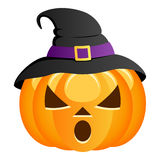 Scary Halloween Pumpkin with Witch Hat Royalty Free Stock Images